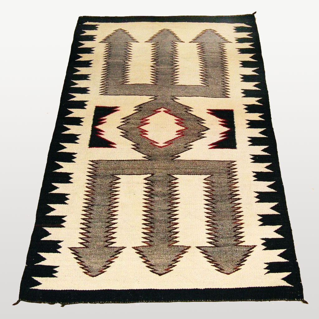 Red Mesa Trident Pattern Navajo Weaving From