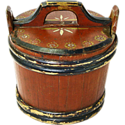 Norwegian Folk Art Painted  Storage Container with Lid, 1850-1900