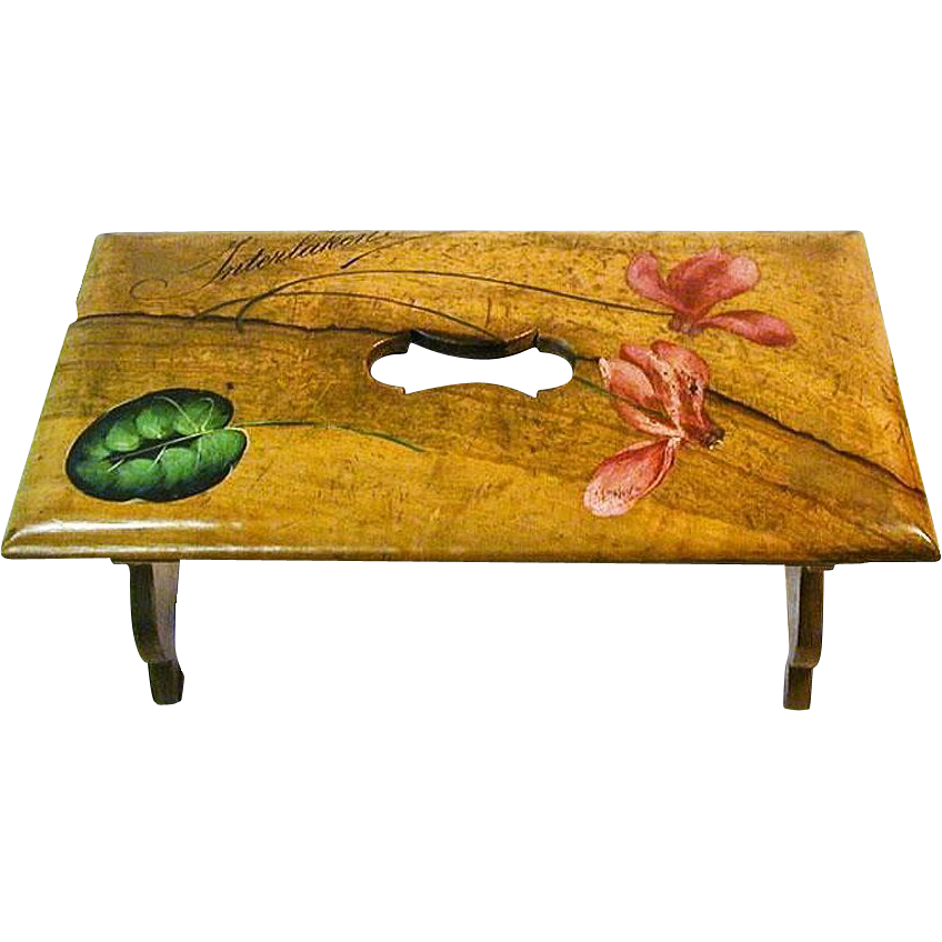 Painted Olive Wood Collapsible Bench, Interlaken, Switzerland, 1900's