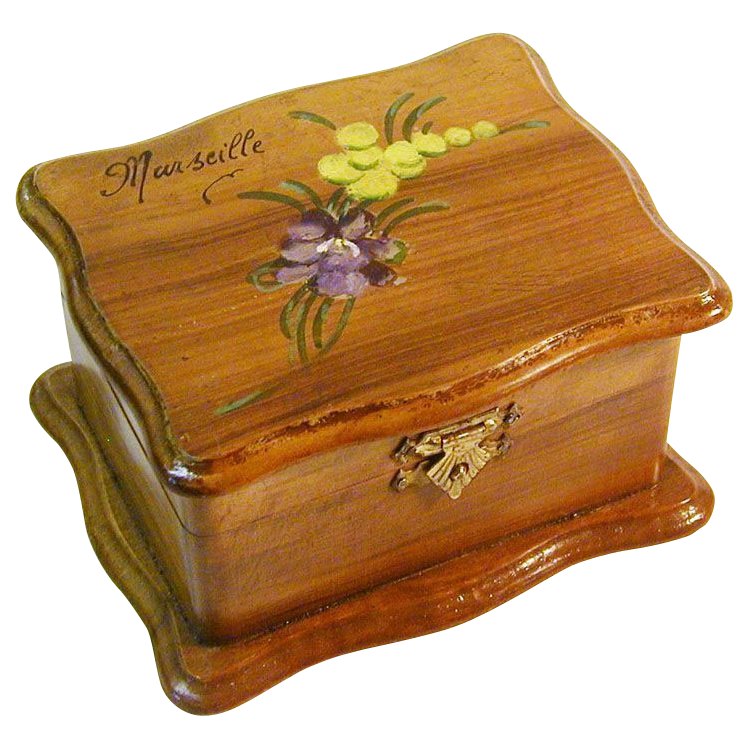 Painted Olive Wood Padded Jewelry Box, Souvenir of Provence, France, Ca.  1900's