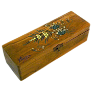 Painted Olive Wood Jewelry Box, Souvenir of Nice, France, 1900's