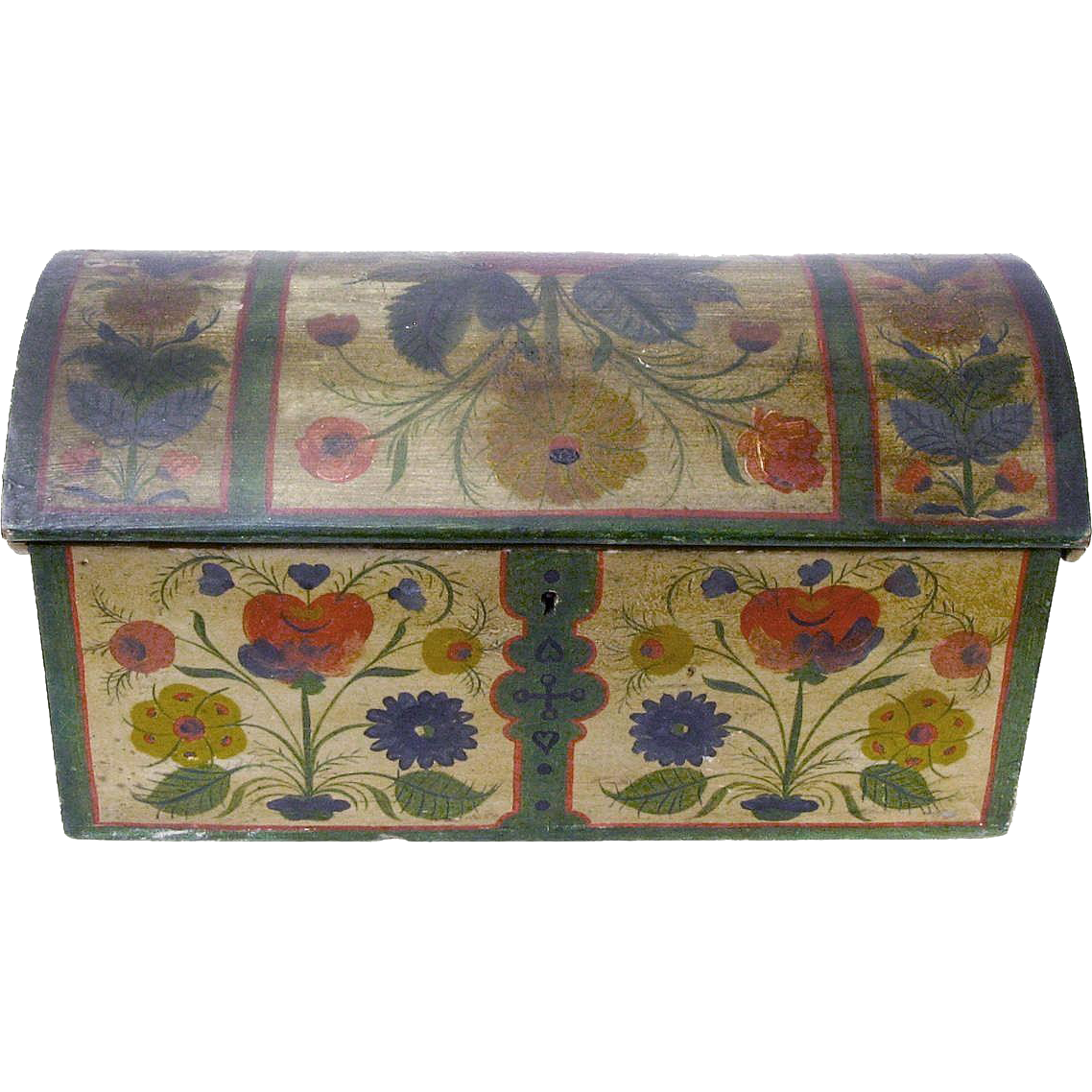 Os Painted Norwegian Miniature Dome Top Chest with Till and Text, Ca 1885