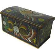Norwegian Miniature Dome Top Chest with Till, Os Rosemaling Decorated, 1895