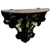 Papier Mache Floral Decorated Folding Shelf, Victorian Era