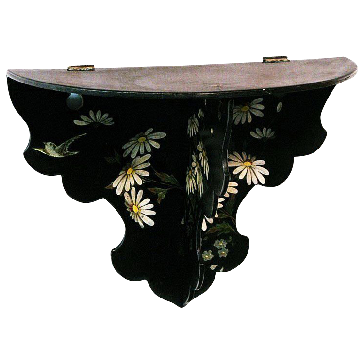 Japanned Papier Mache Floral Decorated Folding Single Shelf, Victorian Era
