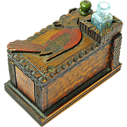 Painted Pyrographic Desk Box with Cardinal and  Inkwell , Folk Art, Ca. 1890
