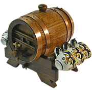 Quimper Bretonne Signed Wine / Cider Barrel with 6 Cups,  Ca. 1930's