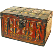 Painted Russian Wedding Chest, Ca. 1860-1890