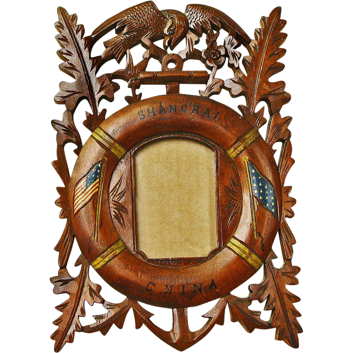 Carved Shanghai China Cruise Commemorative Frame w/ Eagle and Flag