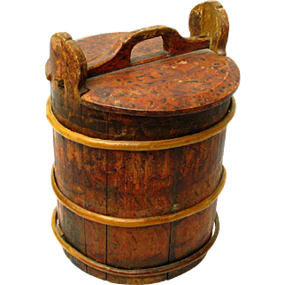 Grain Painted Staved Swedish Container with Lid, Ca. 1880's