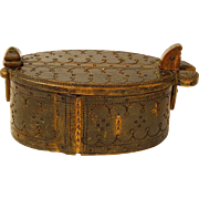 Norwegian Die Hammered Decorated Tine Bent Wood Box, Ca. 1885