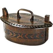 "Danish Souvenir Bent Wood Box, Tine, ""Himmelbjerget"", Incised and Carved Decorations"