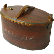 Large Painted Dated Norwegian Tine Bent Wood Box, 1850, Latched Lid