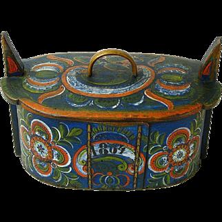Norwegian Os Rosemaling Decorated Tine Box, Annias / Midthus Tveit, 1864