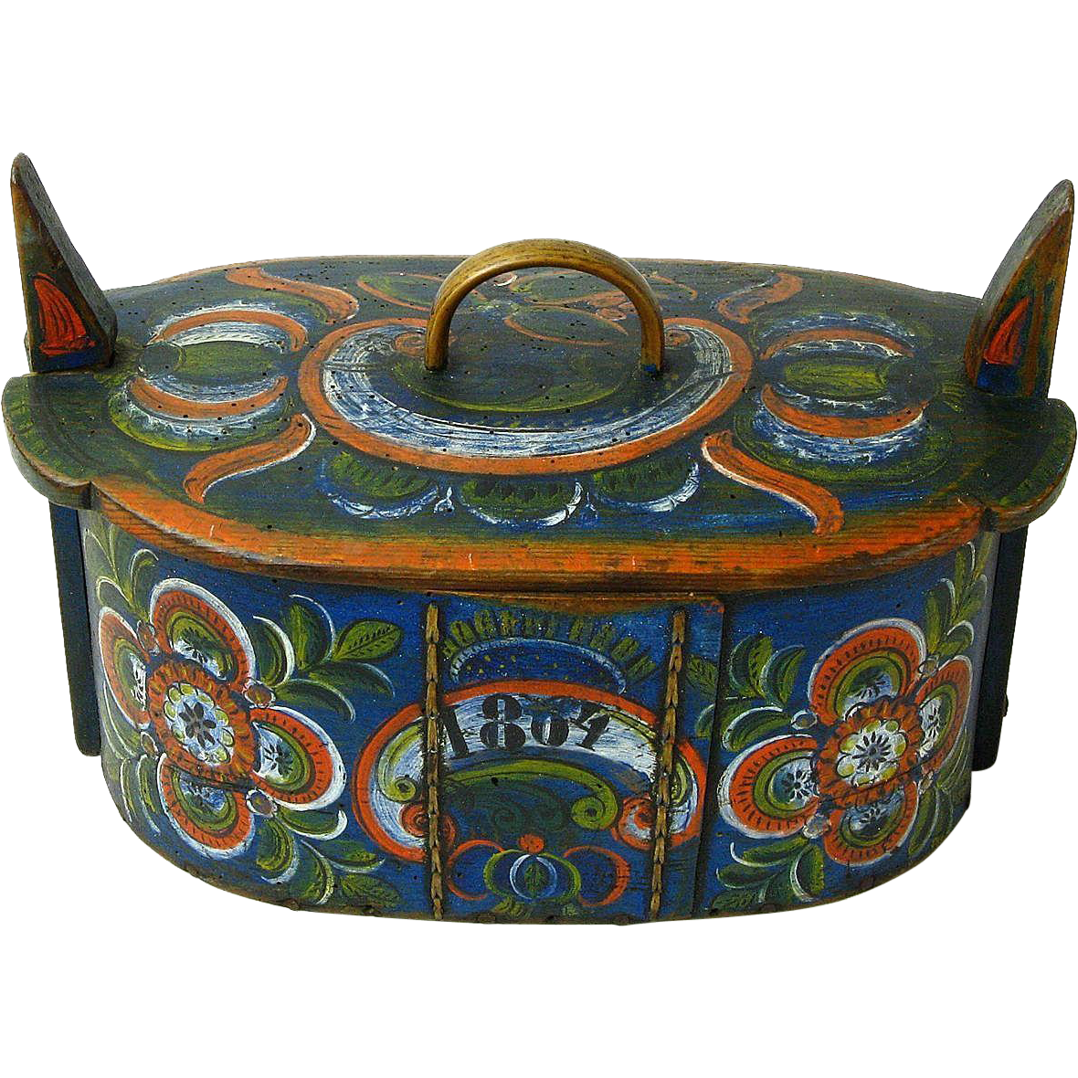 Norwegian Rosemaling Decorated Os Style Tine Box Annias