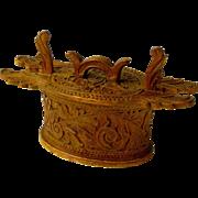 Acanthus Carved Norwegian Tine, Folk Art
