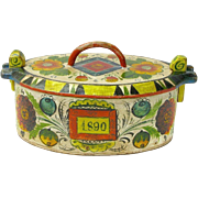 Painted Norwegian Tine Bentwood Box, Os Rosemaling, Dated 1890
