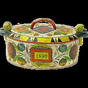 Painted Norwegian Tine Bentwood Box, Os Rosemaling, Dated 1890