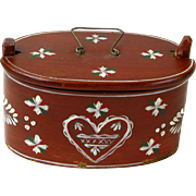 Painted Swedish Souvenir Svepask (Bent Wood Box) Dated 1913