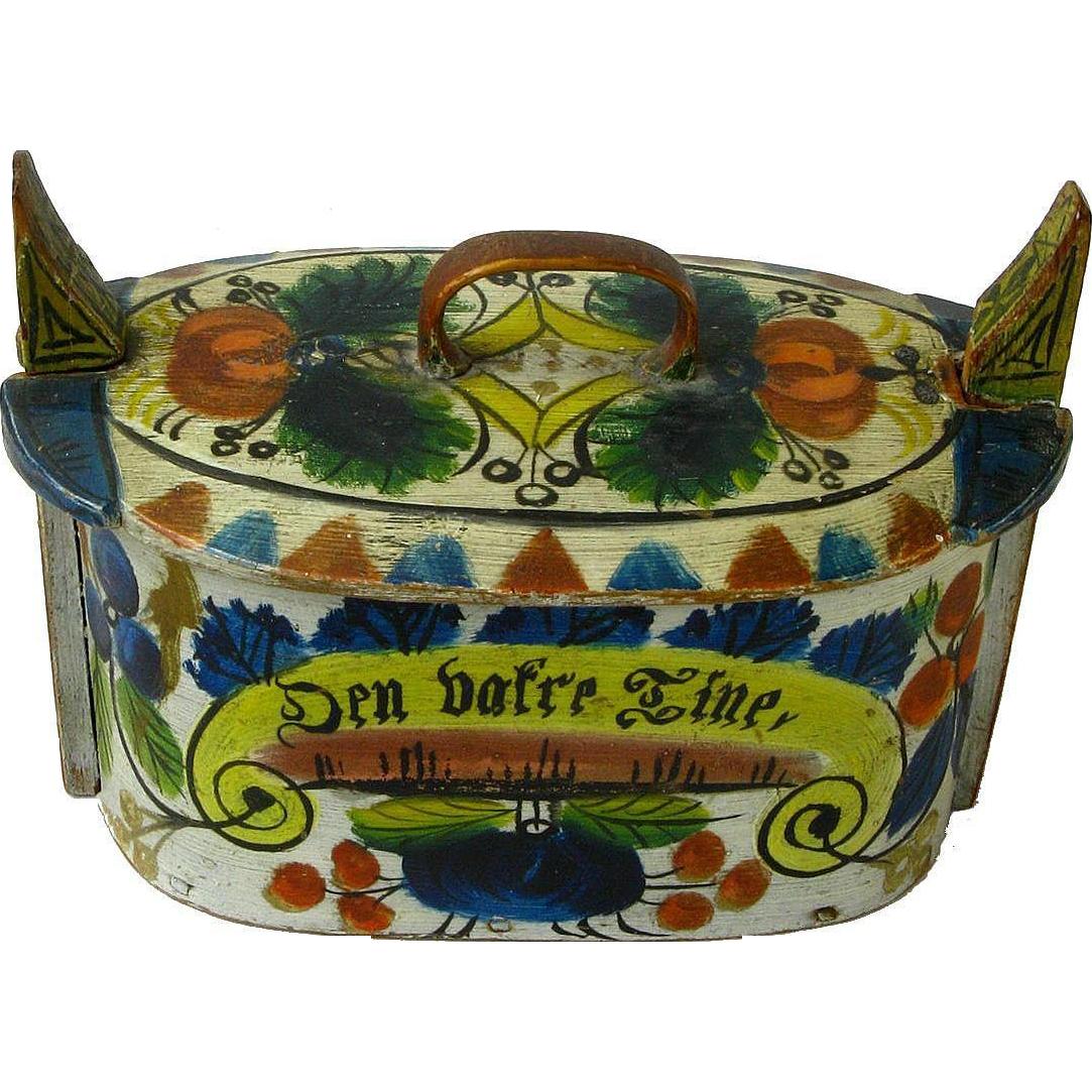 Painted Norwegian Tine Bentwood Box, Os Rosemaling, Dated 1887
