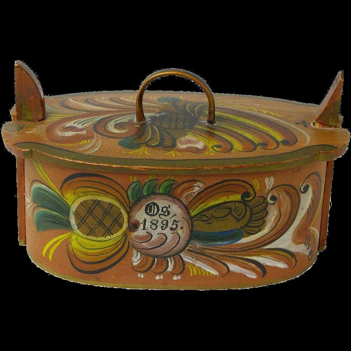 Os Rosemaling Painted Norwegian Tine Bentwood Box, Dated 1895