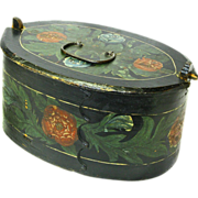 Norwegian Paint Decorated Tine, Bent Wood Box, Folk Art, Late 1800's