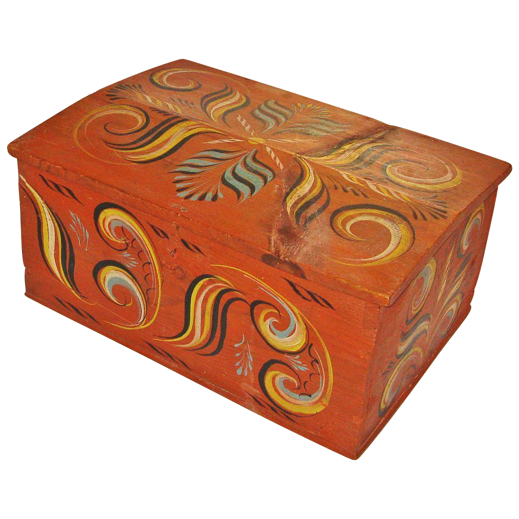Large Painted Viksdal  Norwegian Document Box, Mid 1800's