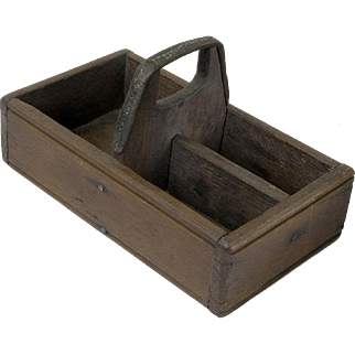 Primitive Hand Made Partitioned Walnut Three Bin Make-do Utility Tray