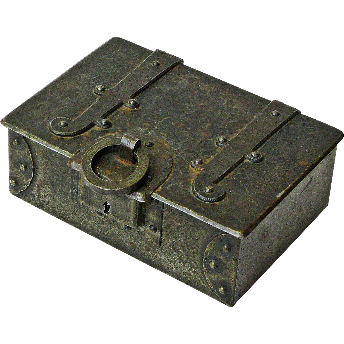 Make an Offer! Goberg Signed  Iron Desk Box Humidor, Working Lock, Ca. 1910