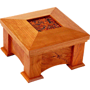 Mission Style Artisan Made Dresser Jewelry Box w/ Inset Oxidized Copper