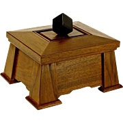 Mission Style Fumed Butternut Dresser Jewelry Box, Ebony Handle, Artisan Crafted