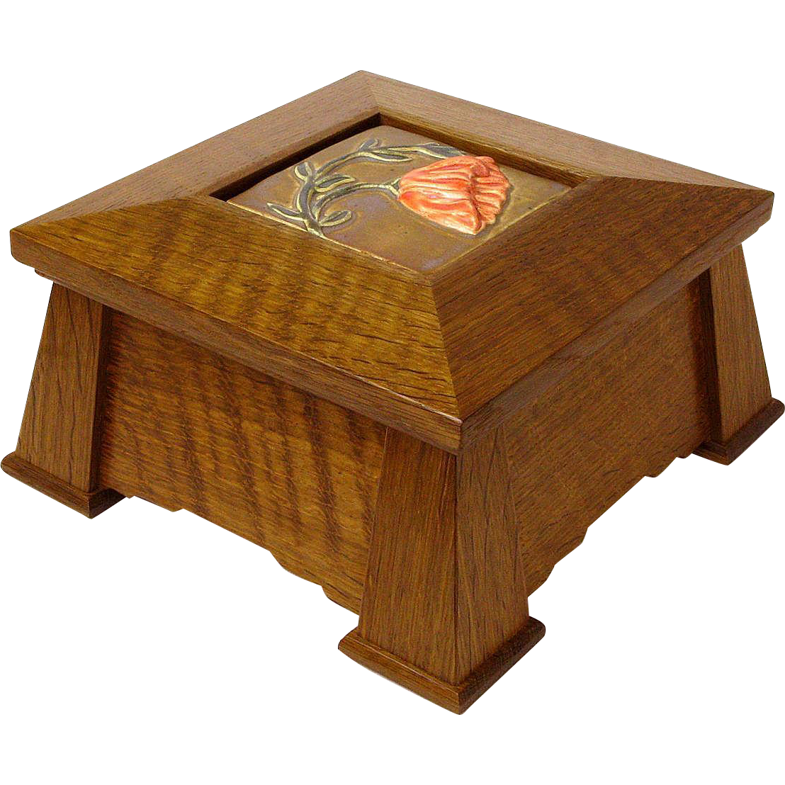 Mission Style Keepsake Dresser Jewelry Box w/ Inset Ceramic Tile, Artisan Made Sweetpea Cottage