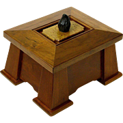 Mission Style Fumed Cherry Dresser Jewelry Box, Palm Wood Handle, Artisan Crafted