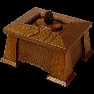 Arts and Crafts Fumed White Oak Keepsake Jewelry Box, Palm Wood Handle, Artisan Crafted
