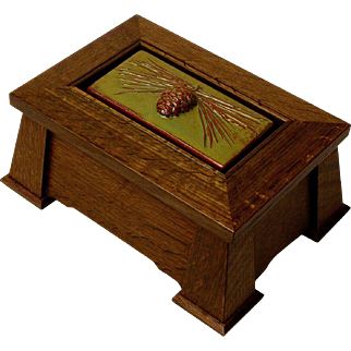 Mission Style Keepsake Dresser Jewelry Box w/ Inset Pine Cone Ceramic Tile, Artisan Crafted