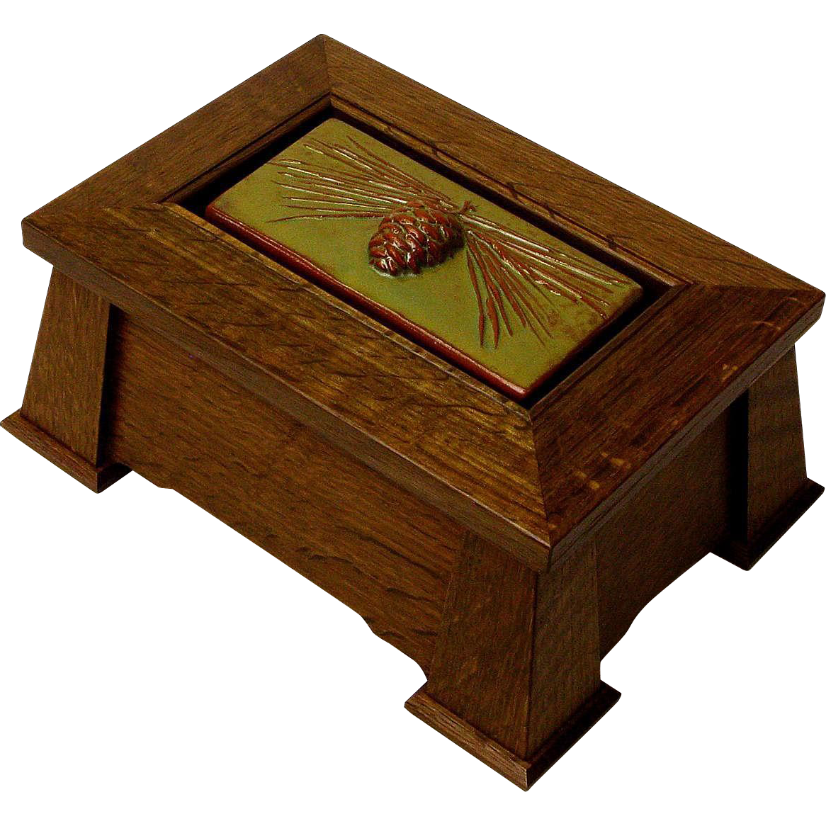 Mission Style Keepsake Dresser Jewelry Box w/ Inset Pine Cone Ceramic Tile, Artisan Crafted