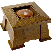 Mission Style Executive Keepsake Dresser Jewelry Box, Artisan Crafted, Fossil Ammonite Shell