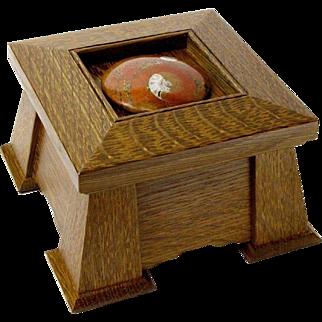 Fossil Ammonite Shell, Mission Style Keepsake Dresser Jewelry Box, Artisan Crafted