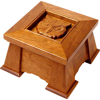 Mission Style Executive Keepsake Dresser Jewelry Box from Curly Cherry with Carved Owl