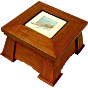 Mission Style Desk or Jewelry Box w/ Ceramic Tile Insert, Artisan Made Sweetpea Cottage