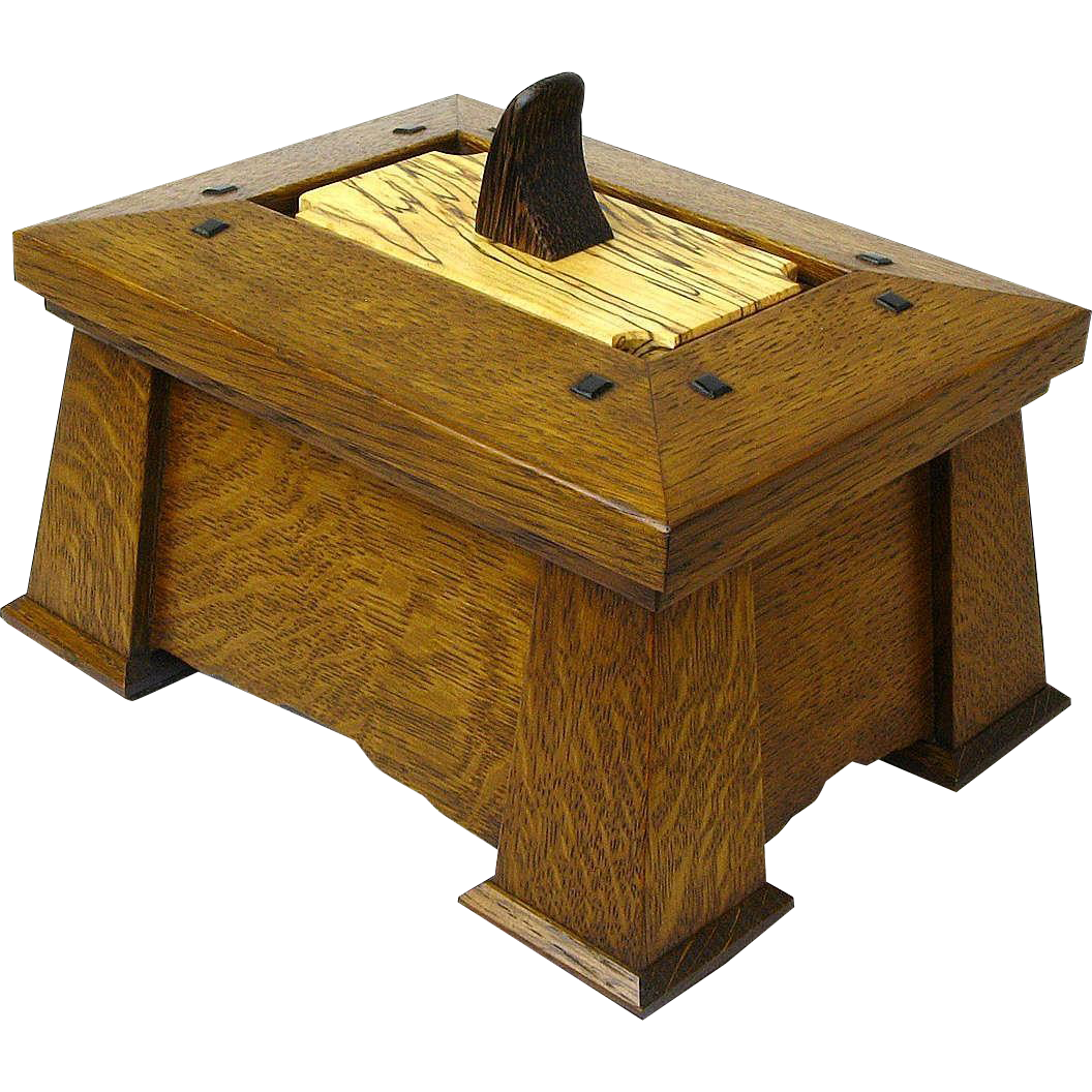 Stickley Style Quartersawn White Oak Executive Desk Box, Dresser Box, with Palm Wood, Spalted Maple