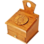 Hand Made Curly Cherry Salt Box, Wall Box, w/Drawer, Carved Flower Medallion