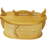 Norwegian Style Carved Ash Tine Bentwood Box, Artisan Crafted at Sweetpea Cottage