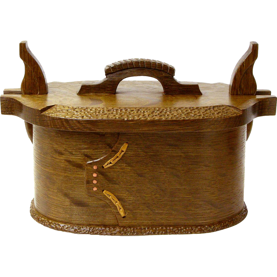 Norwegian Style Artisan Crafted White Oak Bent Wood Box, Tine, Norwegian Lunch Box