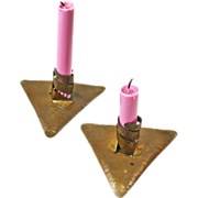 Hand Crafted Pair of Arts and Crafts Style Copper Candlesticks