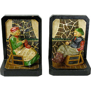A Pair of Anri Carved Figural Bookends