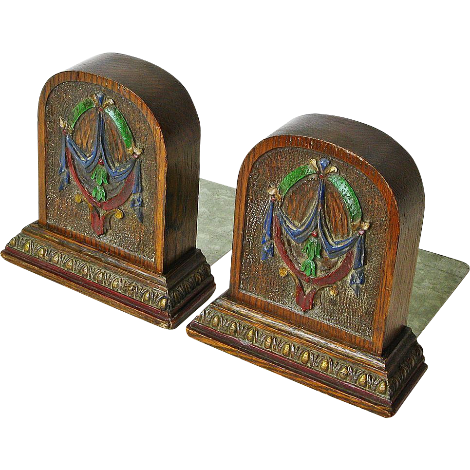Painted and Carved Art Nouveau Oak  Bookends