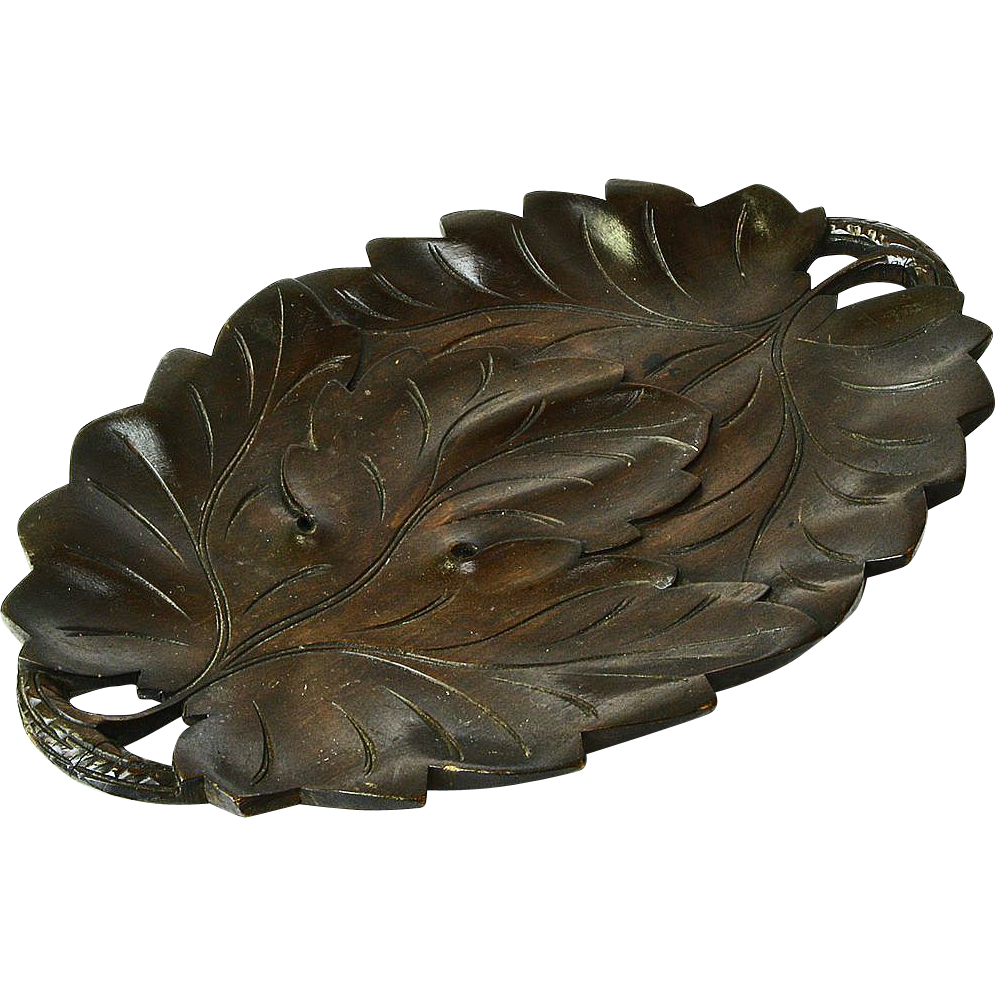 Black Forest Style Carved Leaf Bread Tray Signed Poznan