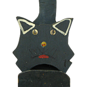 Folk Art Painted Black Cat Hanging Match Holder