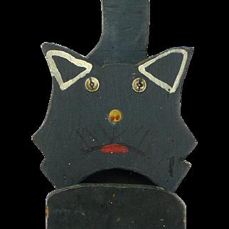 Folk Art Painted Black Cat Hanging Match Holder